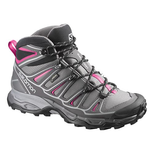 Womens Salomon X-Ultra Mid 2 GTX Hiking Shoe - Grey/Pink 9.5