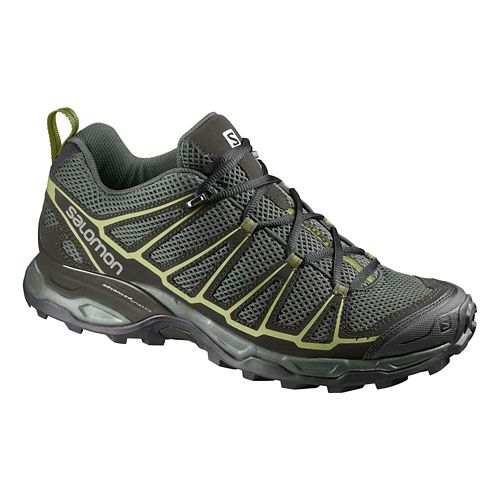 Mens Salomon X-Ultra Prime Hiking Shoe - Grey/Green 10.5
