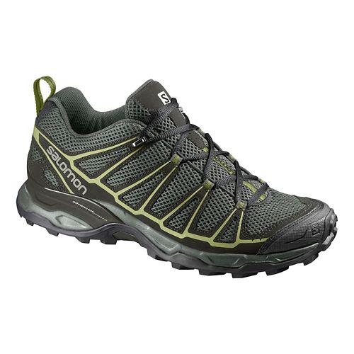 Mens Salomon X-Ultra Prime Hiking Shoe - Grey/Green 11.5