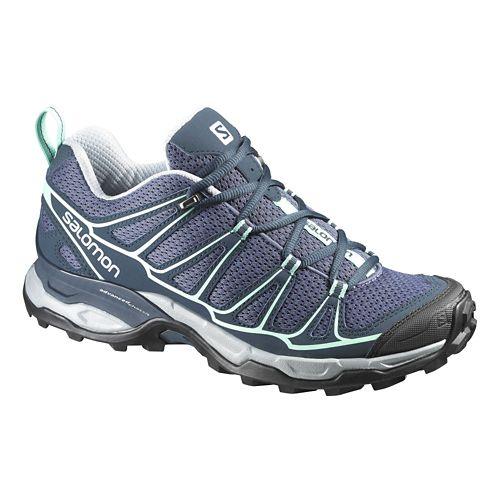 Womens Salomon X-Ultra Prime Hiking Shoe - Grey/Blue 5.5