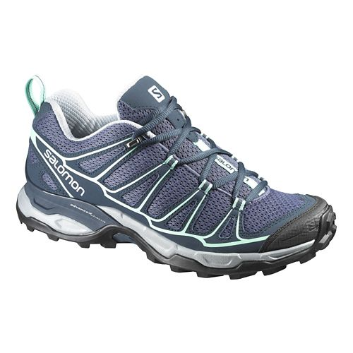 Womens Salomon X-Ultra Prime Hiking Shoe - Grey/Blue 9.5