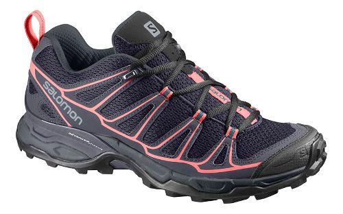 Womens Salomon X-Ultra Prime Hiking Shoe - Grey/blue/coral 9.5