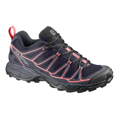 Womens Salomon X-Ultra Prime Hiking Shoe - Grey/blue/coral 10