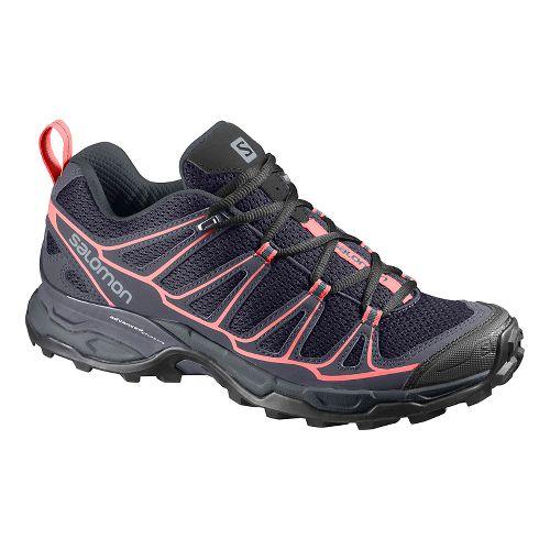 Womens Salomon X-Ultra Prime Hiking Shoe - Grey/blue/coral 6.5