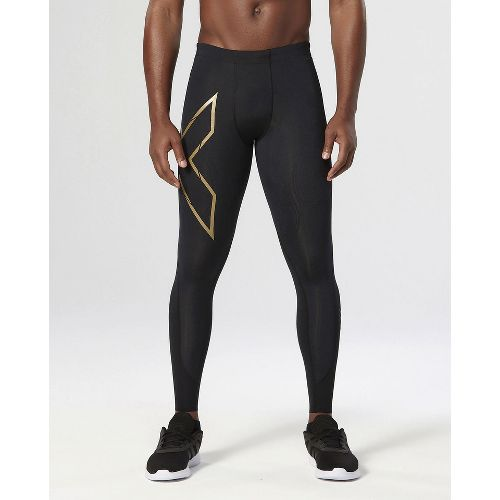 Mens 2XU Elite MCS Compression Full Length Tights - Black/Gold L-R