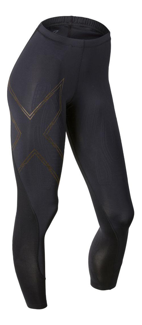 Womens 2XU Elite MCS Compression Tights & Leggings Tights - Black/Gold L-T