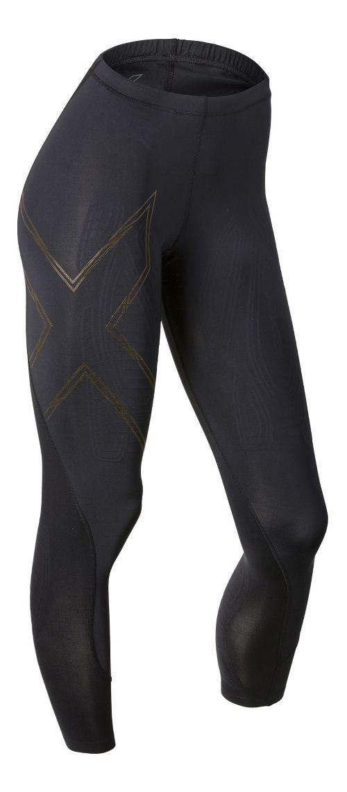 Womens 2XU Elite MCS Compression Tights & Leggings Tights - Black/Gold S-R