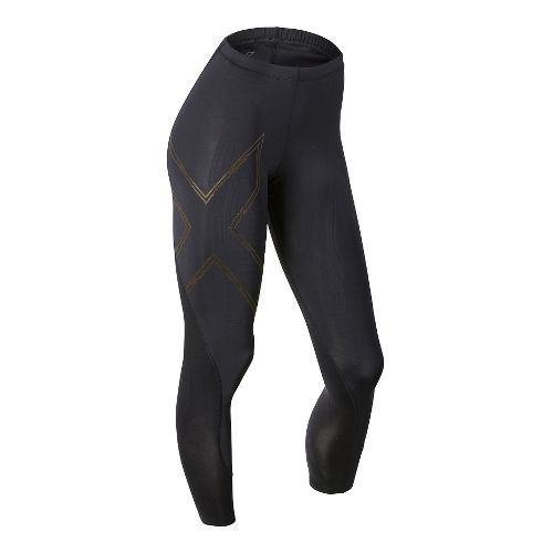 Womens 2XU Elite MCS Compression Tights & Leggings Tights - Black/Gold S-T