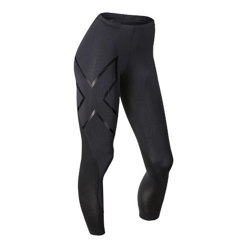Womens 2XU Elite MCS Compression Full Length Tights - Black/Gold S-T