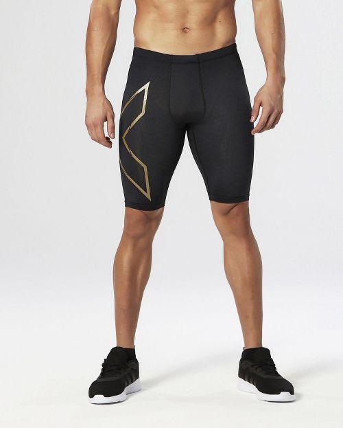 Mens 2XU Elite MCS Compression Unlined Shorts - Black/Gold M