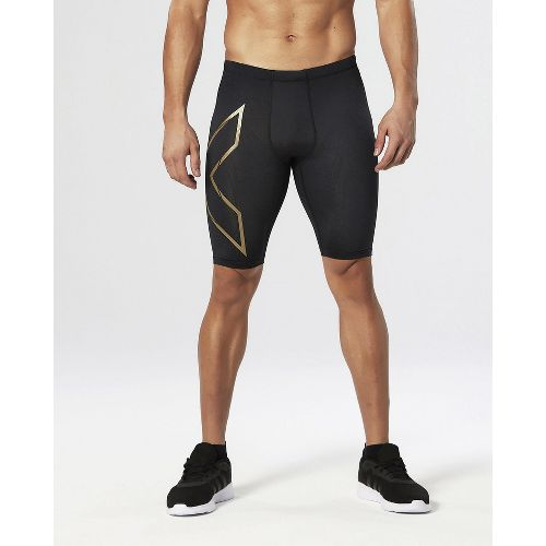Mens 2XU Elite MCS Compression Unlined Shorts - Black/Gold L