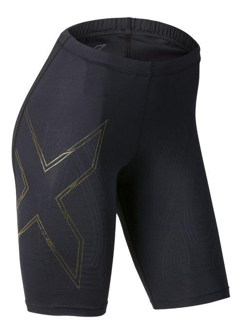 Womens 2XU Elite MCS Compression Unlined Shorts - Black/Gold S