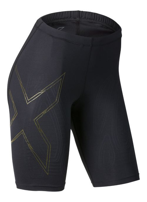 Womens 2XU Elite MCS Compression Unlined Shorts - Black/Gold XS