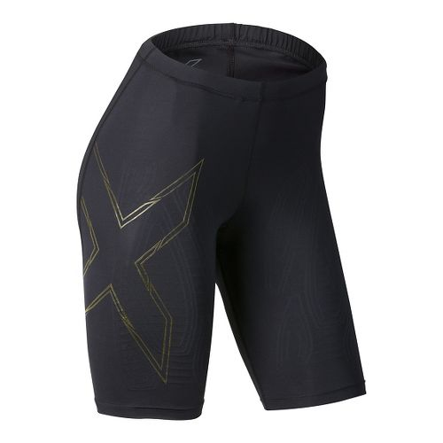 Womens 2XU Elite MCS Compression Unlined Shorts - Black/Gold L