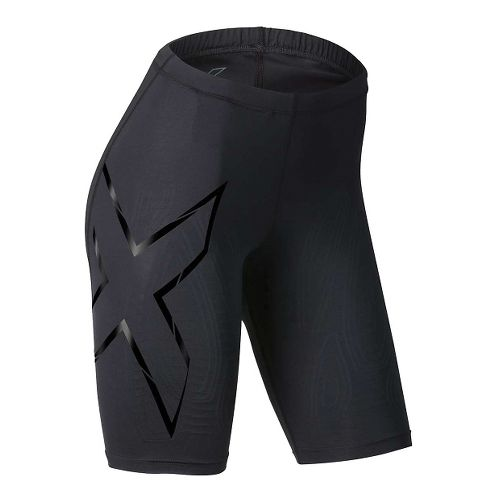 Womens 2XU Elite MCS Compression Unlined Shorts - Black/Gold L