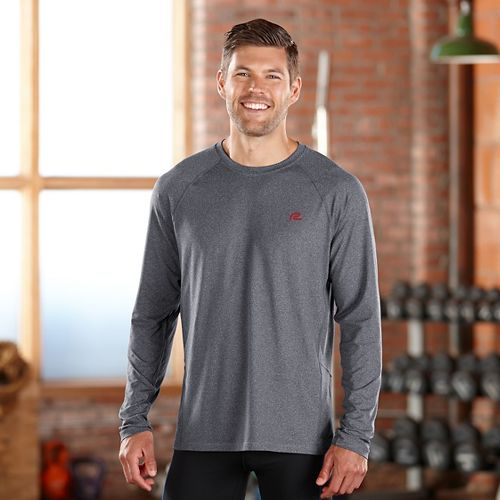 Mens Road Runner Sports Training Day Long Sleeve No Zip Technical Tops - Heather Charcoal ...