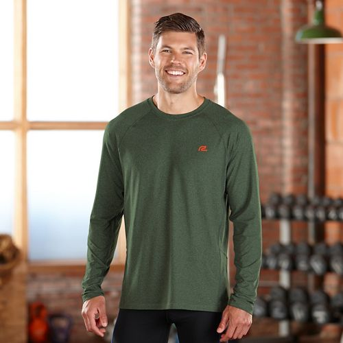 Mens Road Runner Sports Training Day Long Sleeve No Zip Technical Tops - Heather Hunter ...