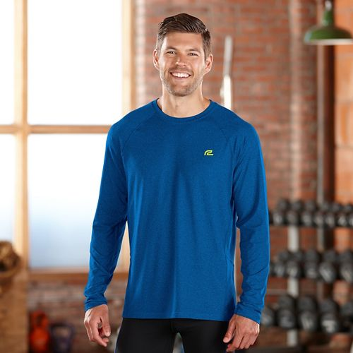 Mens Road Runner Sports Training Day Long Sleeve No Zip Technical Tops - Heather Cobalt ...