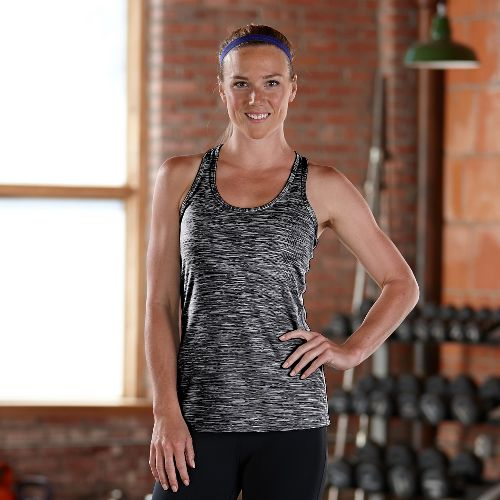 Womens Road Runner Sports Revive Printed Racerback Tanks Technical Tops - Black S