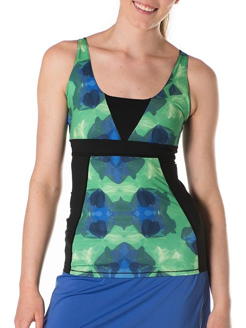 Womens Skirt Sports Electric Sleeveless & Tank Technical Tops - Emerald City Print L