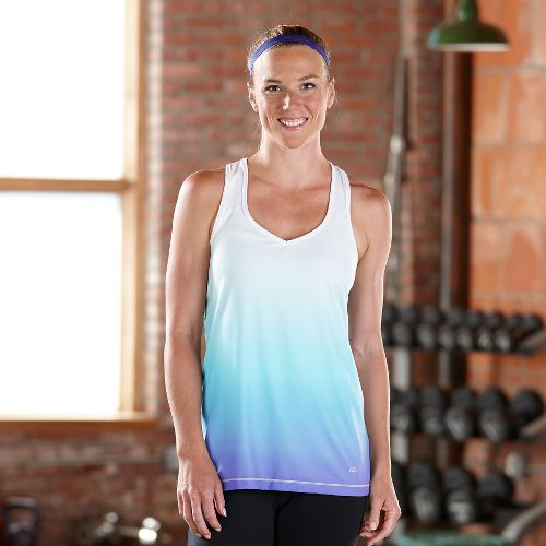 Womens Road Runner Sports Shades of Grey Ombre Tanks Technical Tops - Twilight L