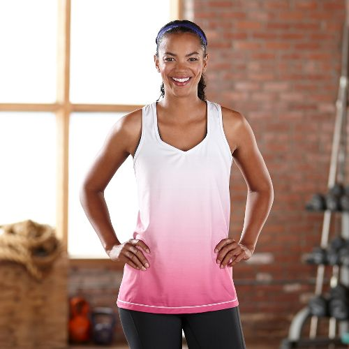 Womens Road Runner Sports Shades of Grey Ombre Tanks Technical Tops - Mulberry Madness M ...