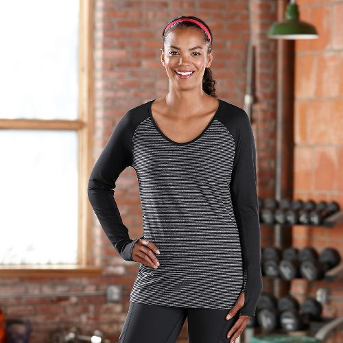 Womens Road Runner Sports Sheer Bliss Long Sleeve No Zip Technical Tops - Black/Heather ...