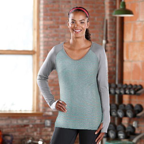 Womens Road Runner Sports Sheer Bliss Long Sleeve No Zip Technical Tops - Aruba Blue L