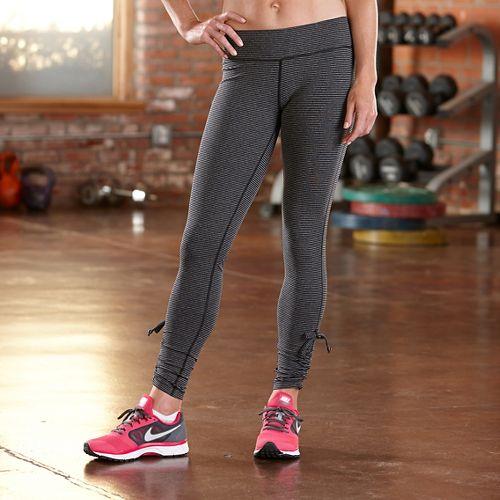 Womens Road Runner Sports Cinch-n-Inch Full Length Tights - Black/Heather Charcoal XL