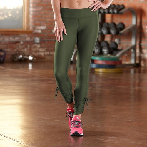 Womens Road Runner Sports Cinch-n-Inch Full Length Tights - Olive Night L