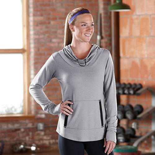 Womens Road Runner Sports Sheer Bliss Pullover Long Sleeve No Zip Technical Tops - Heather Dove ...