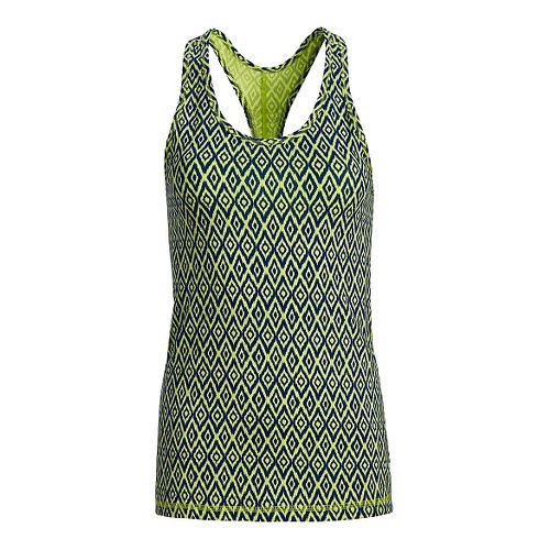 Womens Tasc Performance Core Racer Printed Sleeveless & Tank Technical Tops - Limeade/Deep Blue ...
