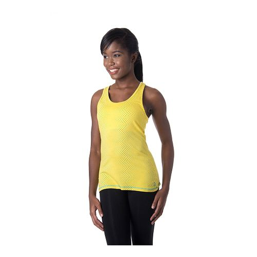 Womens Tasc Performance Core Racer Printed Tank Technical Tops - Maize Dot S