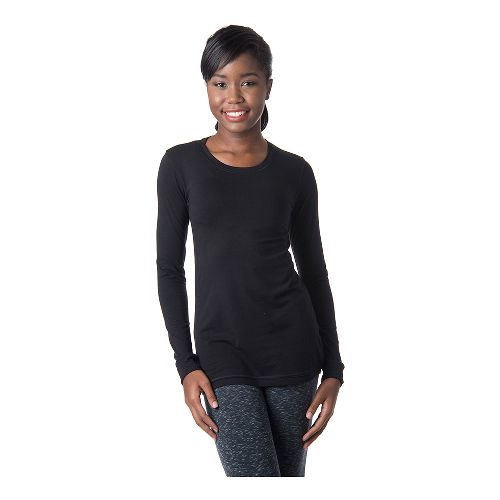Womens Tasc Performance 365 Crew Long Sleeve No Zip Technical Tops - Black XS