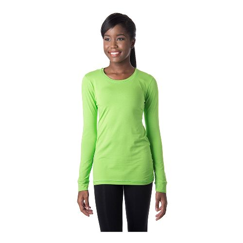 Womens Tasc Performance 365 Crew Long Sleeve No Zip Technical Tops - Green Flash M ...