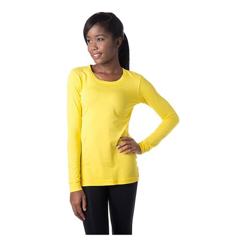 Womens Tasc Performance 365 Crew Long Sleeve No Zip Technical Tops - Maize XS