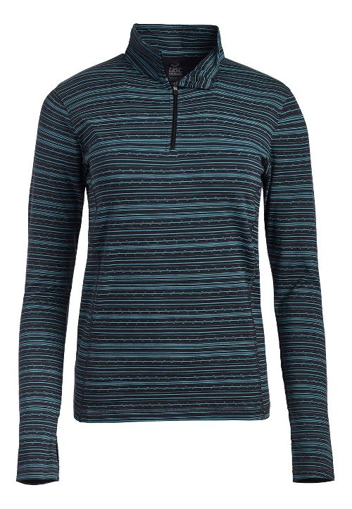 Womens Tasc Performance Sideline 1/4-Zip Printed Long Sleeve Technical Tops - Gunmetal/Stripe L
