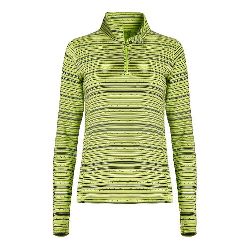 Womens Tasc Performance Sideline 1/4-Zip Printed Long Sleeve Technical Tops - Limeade/Deep Blue XS