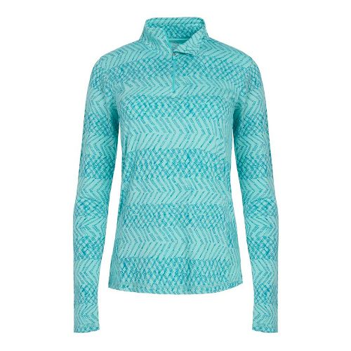 Womens Tasc Performance Sideline 1/4-Zip Printed Long Sleeve Technical Tops - Monsoon L
