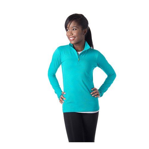 Womens Tasc Performance Sideline Printed Long Sleeve Half Zip Technical Tops - Baltic Dot L ...