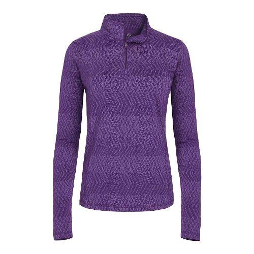Womens Tasc Performance Sideline 1/4-Zip Printed Long Sleeve Technical Tops - Plumberry M