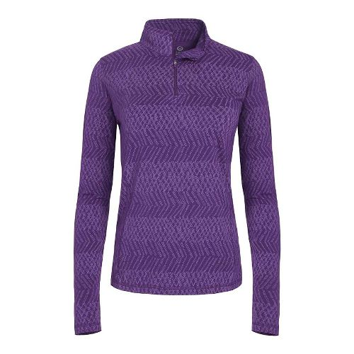 Womens Tasc Performance Sideline 1/4-Zip Printed Long Sleeve Technical Tops - Plumberry XS