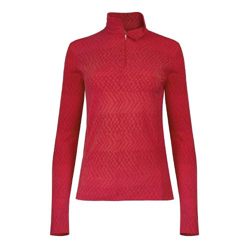 Womens Tasc Performance Sideline 1/4-Zip Printed Long Sleeve Technical Tops - Red Hot XS