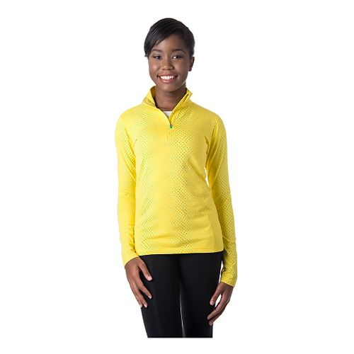 Womens Tasc Performance Sideline Printed Long Sleeve Half Zip Technical Tops - Maize Dot L ...