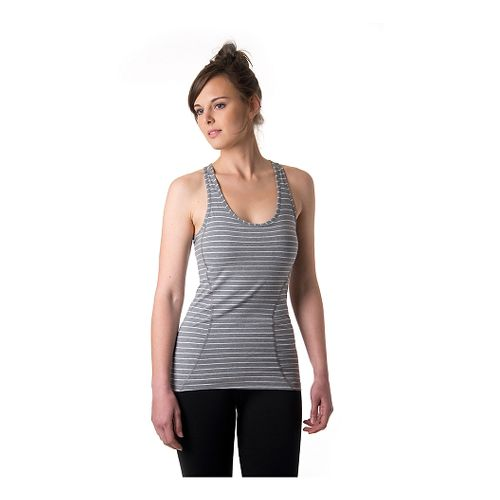 Womens Tasc Performance Pace Racer Bra Tank Technical Tops - Heather Grey L