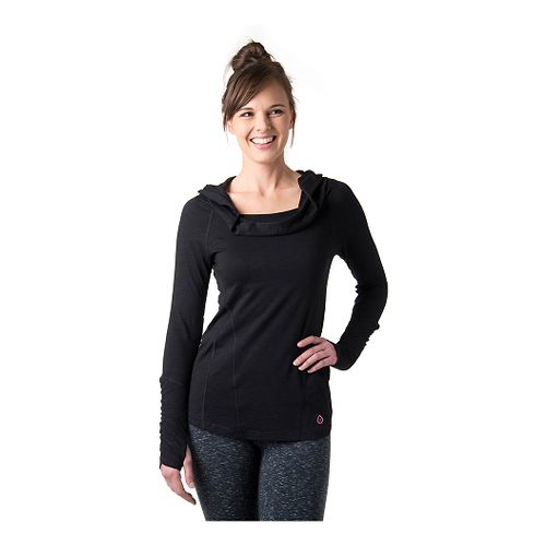 Womens Tasc Performance Pizzazz Pullover Long Sleeve Hooded Technical Tops - Black S