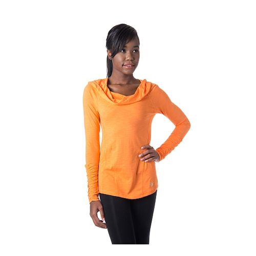 Womens Tasc Performance Pizzazz Pullover Long Sleeve Hooded Technical Tops - Nectarine L