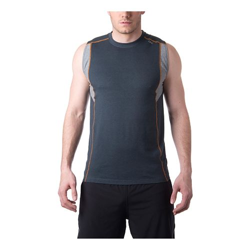 Mens Tasc Performance Charge Sleeveless Technical Tops - Gunmetal/HeatherGrey XL