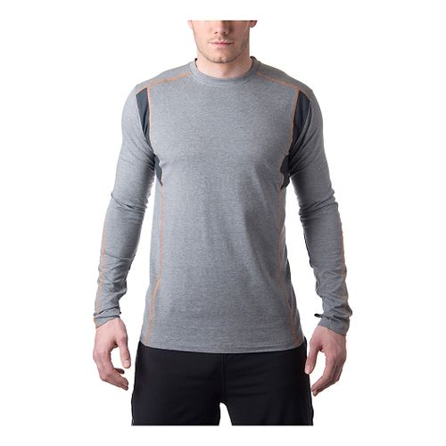 Mens Tasc Performance Charge Long Sleeve No Zip Technical Tops - Heather Grey/Orange L