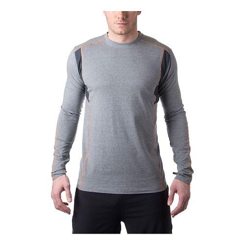 Mens Tasc Performance Charge Long Sleeve No Zip Technical Tops - Heather Grey/Orange M